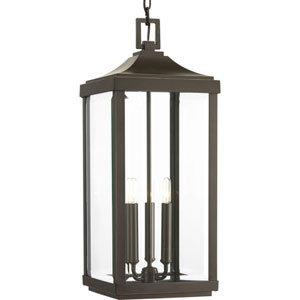 P550004-020: Gibbes Street Antique Bronze Three-Light Outdoor Hanging Lantern