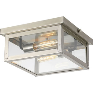P550007-135: Union Square Stainless Steel Two-Light Outdoor Flush Mount
