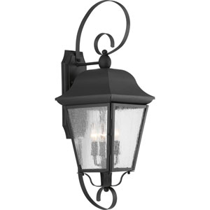 P560012-031: Kiawah Black Three-Light Outdoor Wall Mount