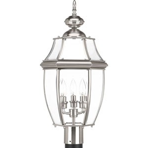 P6433-09: New Haven Brushed Nickel Three-Light Outdoor Post Mount