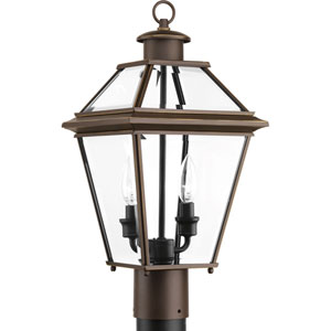 P6437-20: Burlington Antique Bronze Two-Light Outdoor Post Mount