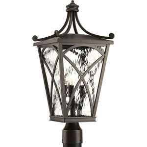 P6442-108: Cadence Oil Rubbed Bronze Three-Light Outdoor Post Mount