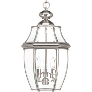 P6533-09: New Haven Brushed Nickel Three-Light Outdoor Hanging Lantern