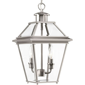 P6537-09: Burlington Brushed Nickel Two-Light Outdoor Hanging Lantern