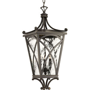 P6542-108: Cadence Oil Rubbed Bronze Three-Light Outdoor Hanging Lantern