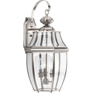 P6612-09: New Haven Brushed Nickel Three-Light Outdoor Wall Mount