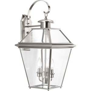 P6617-09: Burlington Brushed Nickel Three-Light Outdoor Wall Mount