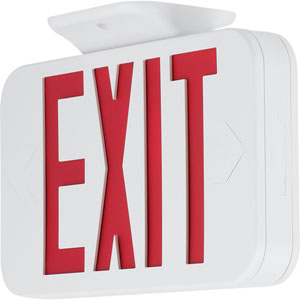 PETPE-UR-30: White Two-Light LED Dual-Voltage Exit Sign