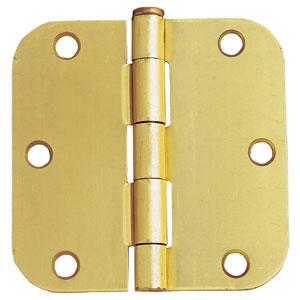 Satin Brass Six-Hole 5/8-Inch Radius Door Hinge, 3.5-Inch by 3.5-Inch