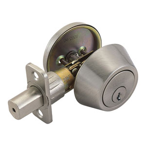Single Cylinder Satin Nickel Two-Way Latch Deadbolt
