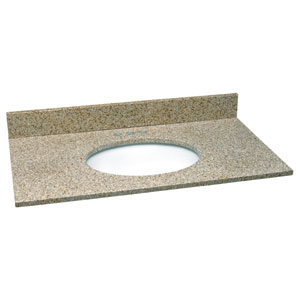 Ventura Golden Sand Single Bowl Granite Vanity Top, 25-Inch by 22-Inch