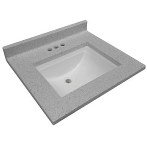 Cultured Marble Single Wave Bowl Vanity Top 25 x 22, Frost