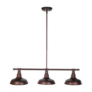 Kimball Textured Bronze 3-Light Pendant