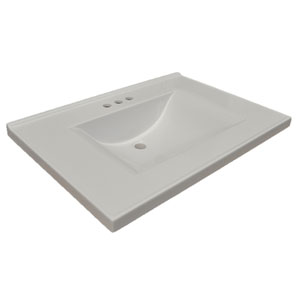 Contempo Vanity Top, 31-inches by 22-inches, Solid White