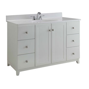 Furniture-Style Vanity Cabinet, 48-inches by 21-inches, Semi-Gloss White