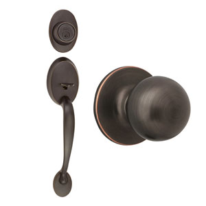 Coventry Oil Rubbed Bronze Two-Way Latch Handle Set with Entry Door Knob