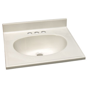 Richland White on White Single Bowl Cultured Marble Vanity Top, 19-Inch by 17-Inch