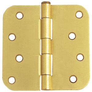 Satin Brass Eight-Hole 5/8-Inch Radius Door Hinge, 4-Inch by 4-Inch
