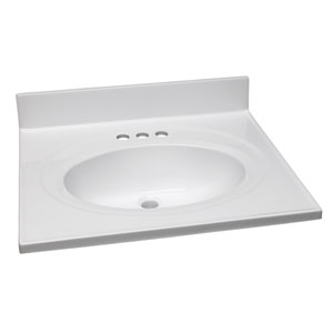 Claremont Solid White Single Bowl Cultured Marble Vanity Top, 25-Inch by 22-Inch