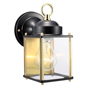 Coach Black and Polished Brass Outdoor Wall Mounted Light