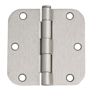 Satin Nickel  Six-Hole 5/8-Inch Radius Door Hinge, 3.5-Inch by 3.5-Inch