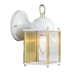 Coach White and Polished Brass Outdoor Wall Mounted Light