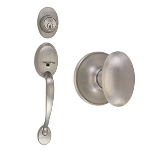 Coventry Satin Nickel Two-Way Latch Entry Handle Set with Egg Knob