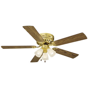 Millbridge 52-Inch Polished Brass Hugger Fan