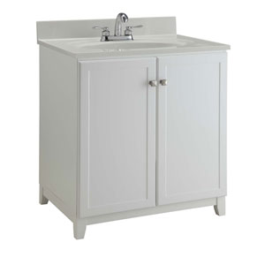 Furniture-Style Vanity Cabinet, 30-inches by 21-inches, Semi-Gloss White