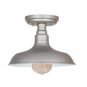 Kimball Galvanized 1-Light Ceiling Mount Industrial Light