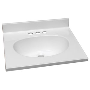 Claremont Solid White Single Bowl Cultured Marble Vanity Top, 19-Inch by 17-Inch