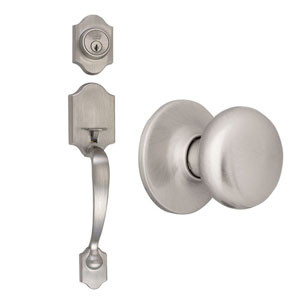 Sussex Satin Nickel Two-Way Latch Entry Door Handle Set
