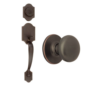 Sussex Oil Rubbed Bronze Two-Way Latch Entry Door Handle Set with Knob