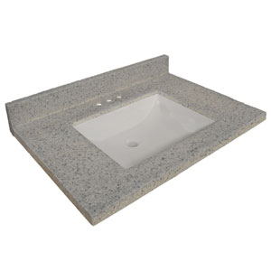Wave Bowl Premium Granite Vanity Top with 4-Inch Backsplash, 37-inches by 22-inches, Moonscape Grey