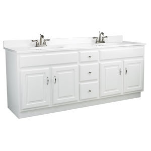 Concord 72-Inch White Gloss Vanity Cabinet without Top