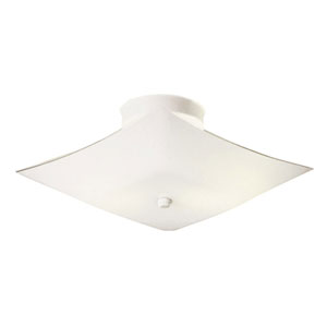 White Square Glass Two-Light 11.2-Inch Ceiling Mount