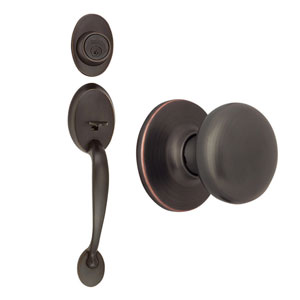 Coventry Oil Rubbed Bronze Two-Way Latch Entry Door Handle Set with Knob