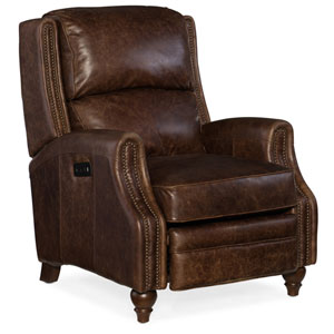 Brio Dark Brown Power Recliner with Power Headrest