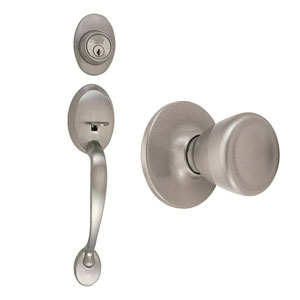 Coventry Satin Nickel Two-Way Latch Entry Handle Set with Tulip Knob