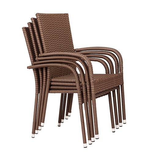 Mocha Morgan Set of Four Outdoor Wicker Chair