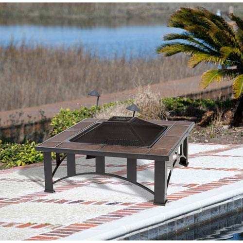 Well Traveled Living 23-Inch Square Tuscan Tile Top Mission Style Fire Pit with 24-Inch Steel Fire Box