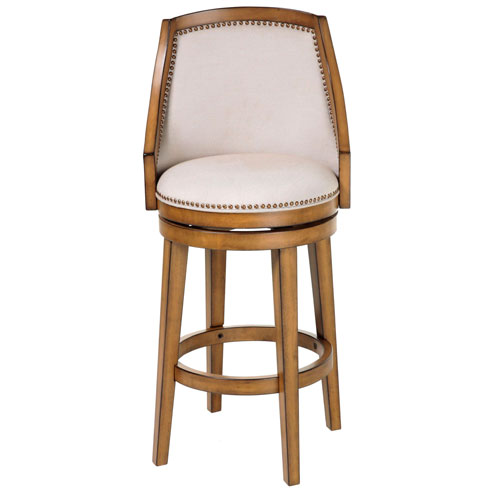Charleston Wood 26 In. Counter Stool with Putty Upholstered Nail head Trim Swivel-Seat and Acorn Frame Finish