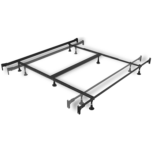 Engineered Adjustable 856 Queen/King Bed Frame with Fixed Head and Foot Panel Brackets and Six Glide Legs