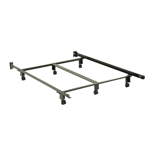 Inst-A-Matic Premium 761R Black Queen Bed Frame with Headboard Brackets and Six 2-Inch Locking Rug Roller Legs