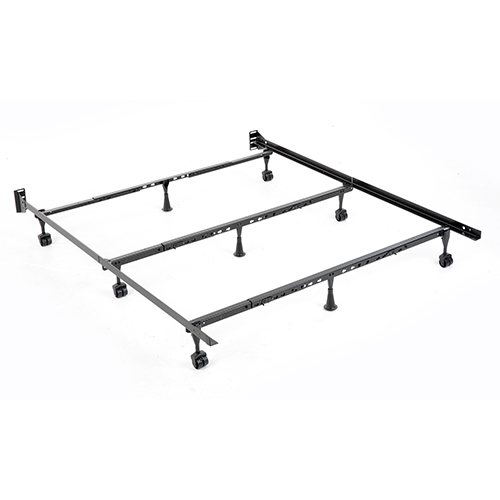 Solutions Compact Universal Black Powder Coat Folding Bed Frame with Tool-Free Assembly, Twin - California King