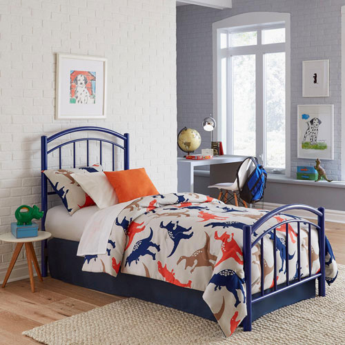 Rylan Cadet Blue Kids Twin Bed with Metal Duo Panels