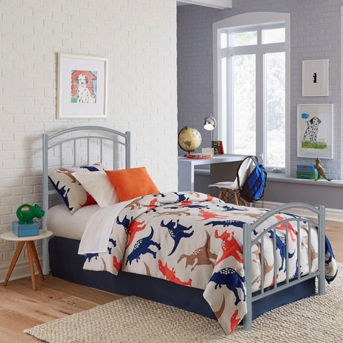 Rylan Shadow Gray Kids Twin Bed with Metal Duo Panels