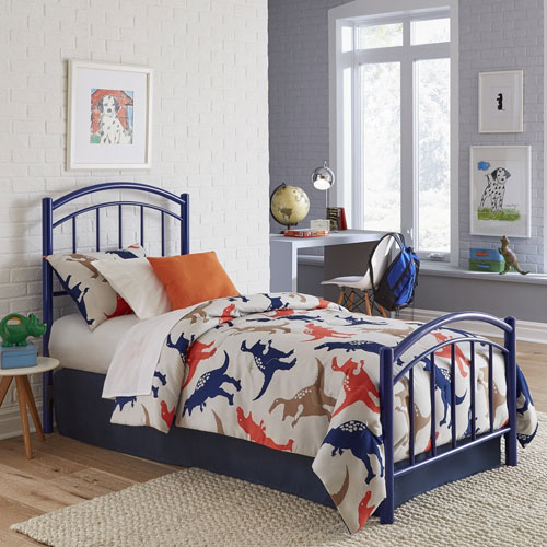 Rylan Cadet Blue Twin Complete Kids Bed with Metal Duo Panels