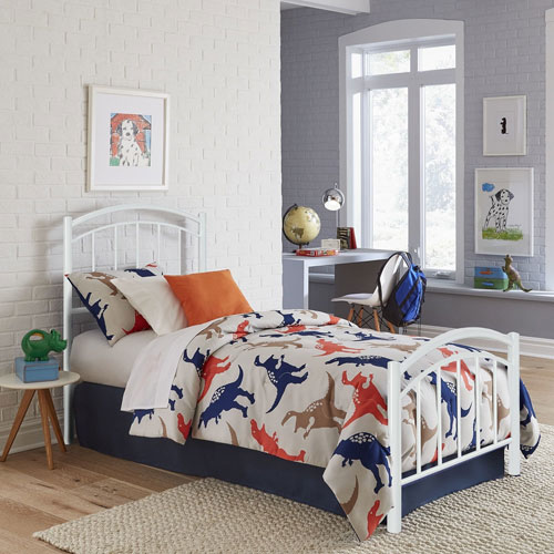 Rylan Cotton White Twin Complete Kids Bed with Metal Duo Panels
