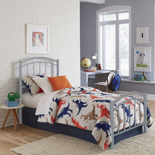 Rylan Shadow Gray Twin Complete Kids Bed with Metal Duo Panels